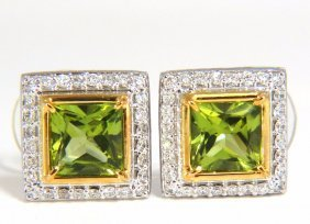 4.60ct Natural Princess Cut Green Peridot Diamond