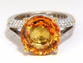 Gia 8.95ct Natural Orange Yellow Round Sapphire Diamond