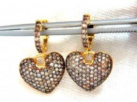 2.00ct Natural Fancy Color Diamonds Heart Dangle Ear