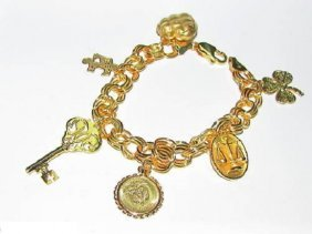 14kt Gold Charm Bracelet Key Coin Heart Scale & More