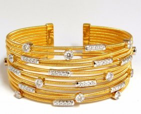 2.10ct Natural Diamonds Coil Wrap Multi-row Bangle