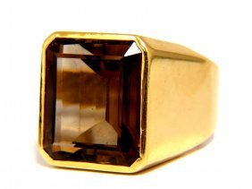 20.00ct Natural Emerald Cut Smokey Quartz 18kt Gold