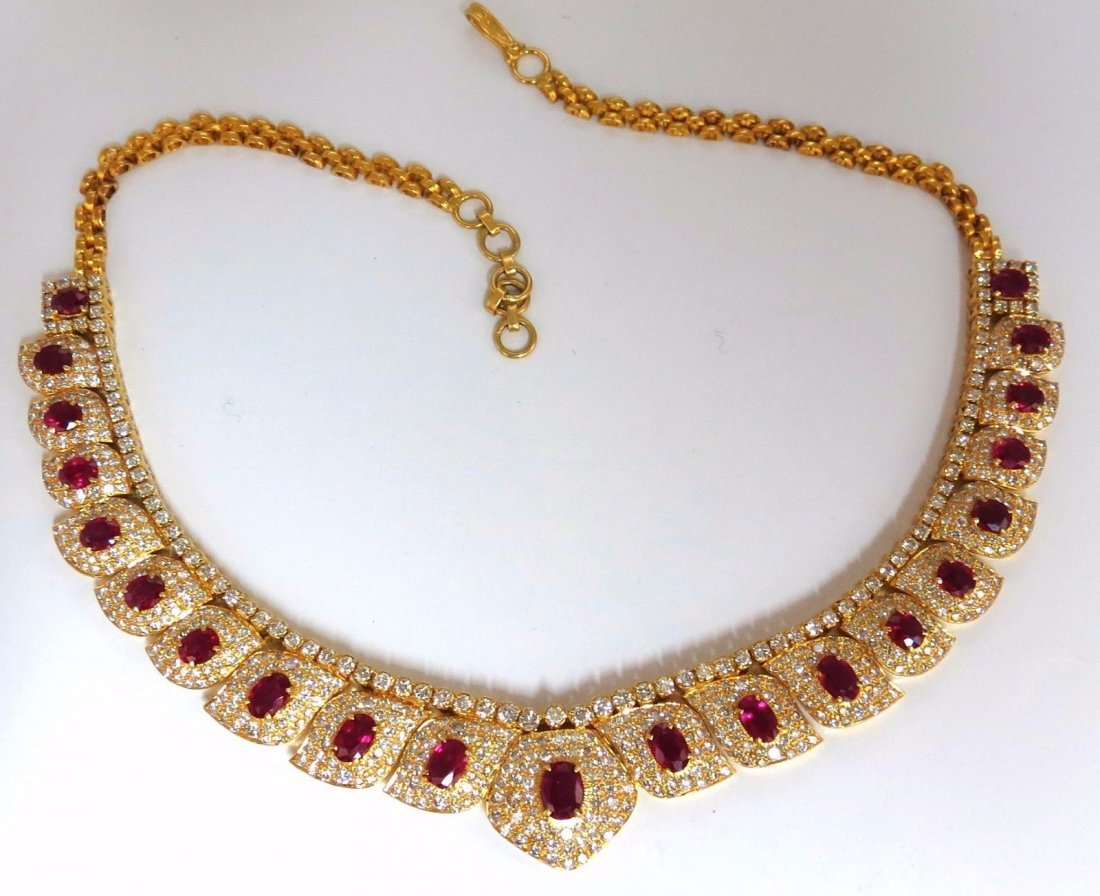 26.00ct natural vivid bright red ruby diamonds necklace