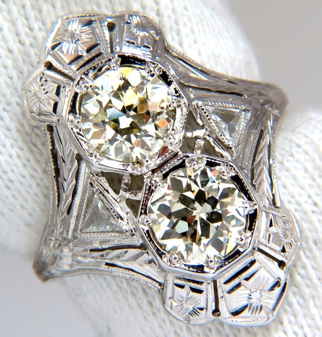 Antique 2.20ct old mine round natural diamonds ring 18k