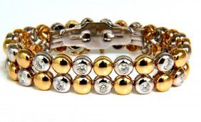 5.00ct 18kt Diamonds Rounds Two Toned Domed Link
