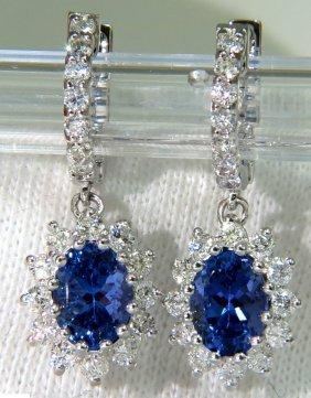 3.64ct Natural Tanzanite Diamonds Dangle Earring 14kt