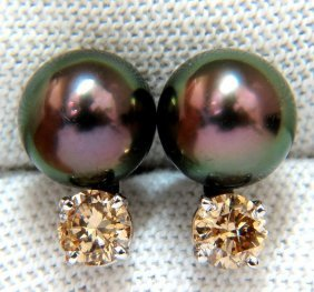 14kt 9mm Natural Tahitian High Luster Peacock Pearl