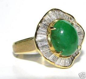 18kt Rare Natural Apple Green Natural Jade Diamond Ring