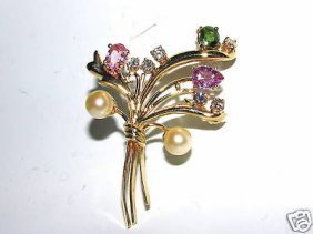 4.70ct. Sapphires Pearls & Diamond Brooch 14kt Rare