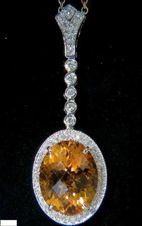 14kt 7.75ct Natural Citrine Diamond Necklace & Dangle