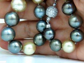 18kt 14.7mm Natural Tahitian Black & South Seas Pearl