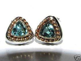 Natural Green Topaz Sterling & 14kt Gold Clip Earrings