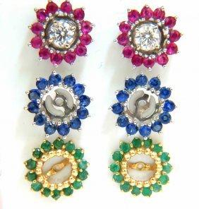 4.06ct Diamond Studs & Jackets Emerald Ruby Sapphire