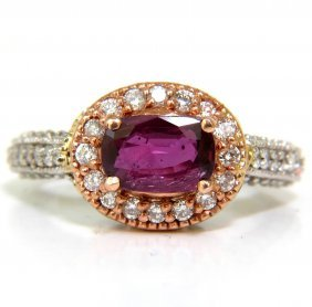 2.78ct Natural Fine Purple Red Ruby Diamond Ring 14kt