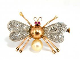 14kt 3d Real Life Spider Insect Brooch Pin Edwardian
