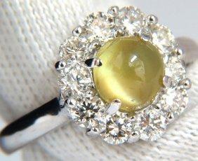 2.95ct Natural Cabochon Chrysoberyl Cats Eye Diamonds
