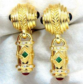 1.10ct Natural Emerald Ruby Sapphire Byzantine 18kt