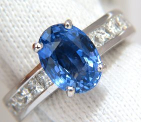 4.09ct Gia Natural No Heat Blue Sapphire Diamond Ring
