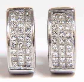 Huggie Earrings 1.50ct Natural Diamonds Invisible Set