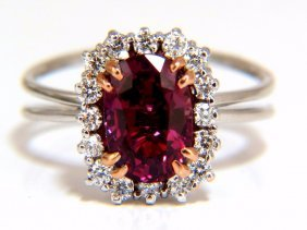 Agl Certified 2.99ct Natural Ruby Diamond Ring 18kt