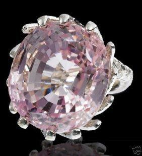 56.00ct Natural Vivid Pink Kunzite Diamond Ring 14kt