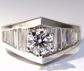 Gia Certified .73ct & 1.50ct Round Diamond Baguette