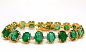 Emerald Bracelet 27.42ct & .75ct Diamonds Classic