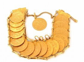 22kt. Yellow Gold Antique Coin Bracelet Gb 1894 Ind Imp