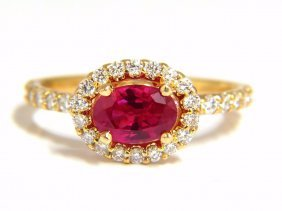 Gia Certified 1.01ct Oval Cut Red Ruby & .50ct Diamonds