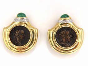 18kt 1.80ct Natural Emerald Diamond Coin Clip Earrings
