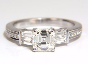 Gia Certified 1.62ct Natural Asscher Diamond Ring