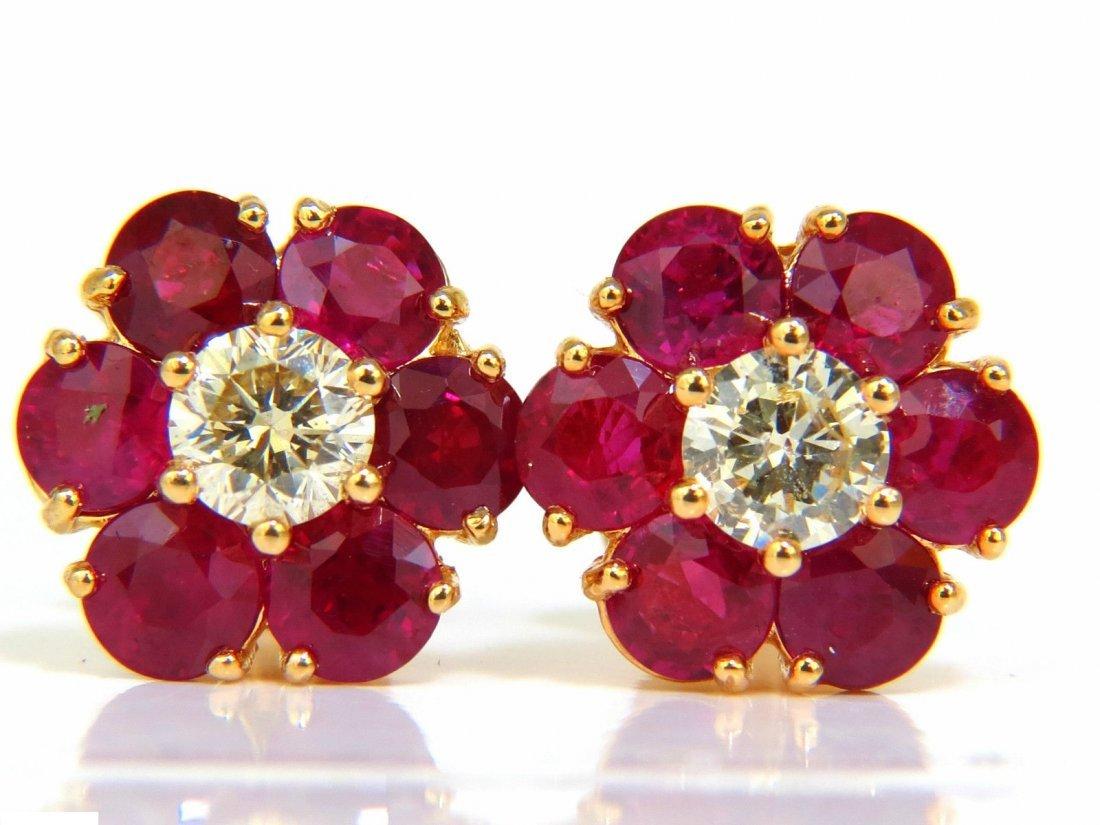 6.48CT NATURAL FINE GEM RUBY DIAMOND CLUSTER EARRINGS