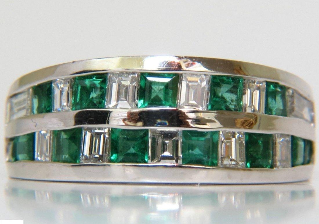3.80CT NATURAL DIAMOND EMERALD RING F/VS PLATINUM