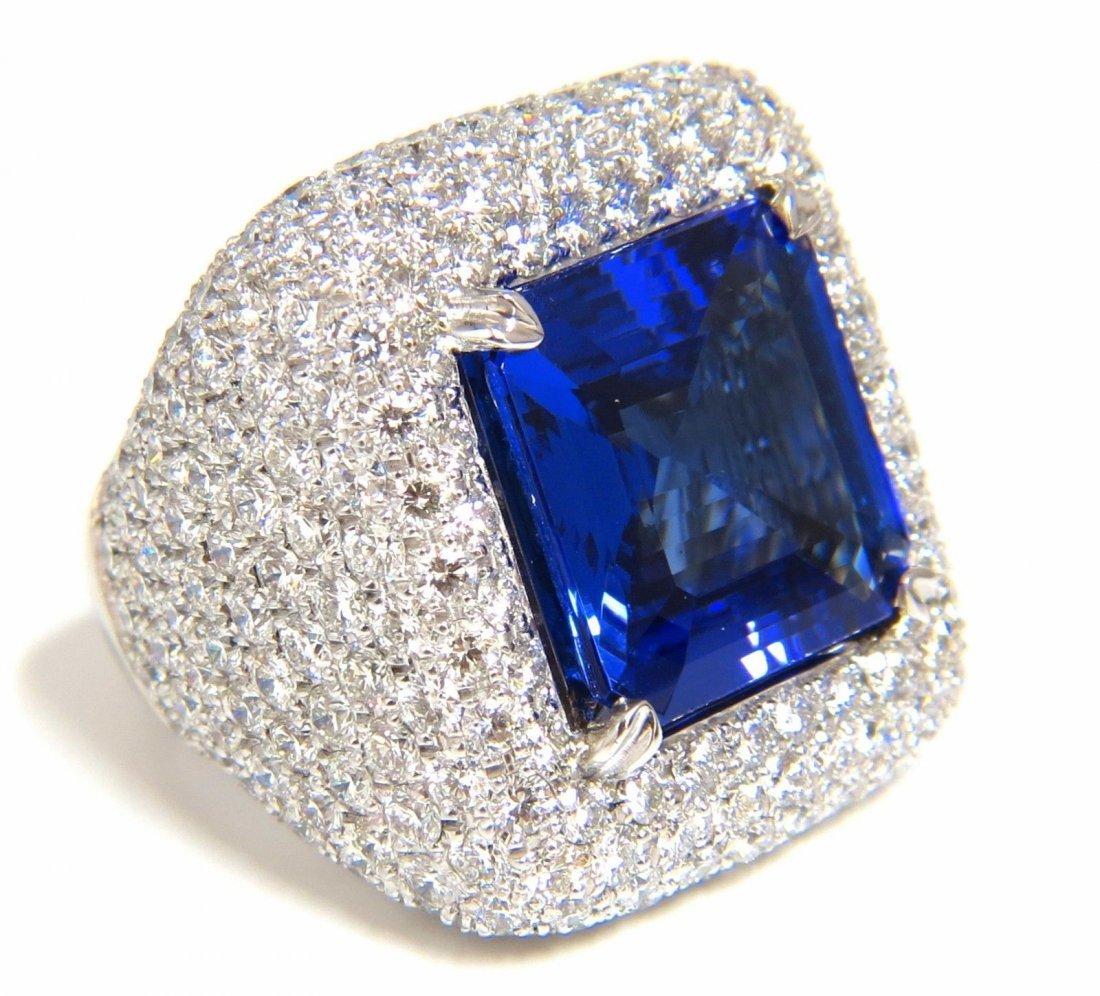 21.70 NATURAL ASSCHER CUT TANZANITE DIAMONDS RING 18KT