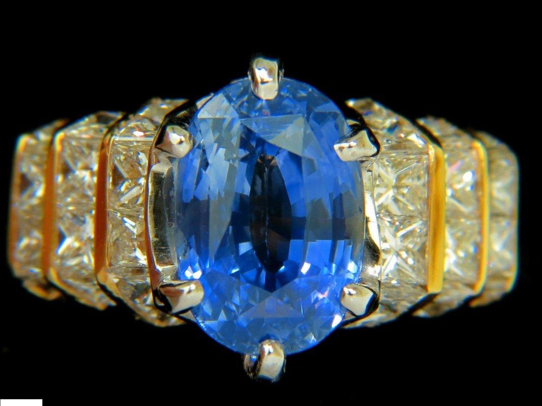 8.89CT NATURAL FINE SAPPHIRE DIAMOND RING CORNFLOWER