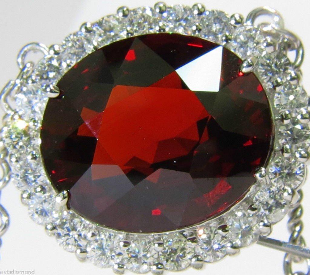 GIA 36.21CT NATURAL SPESSARTITE DIAMOND NECKLACE