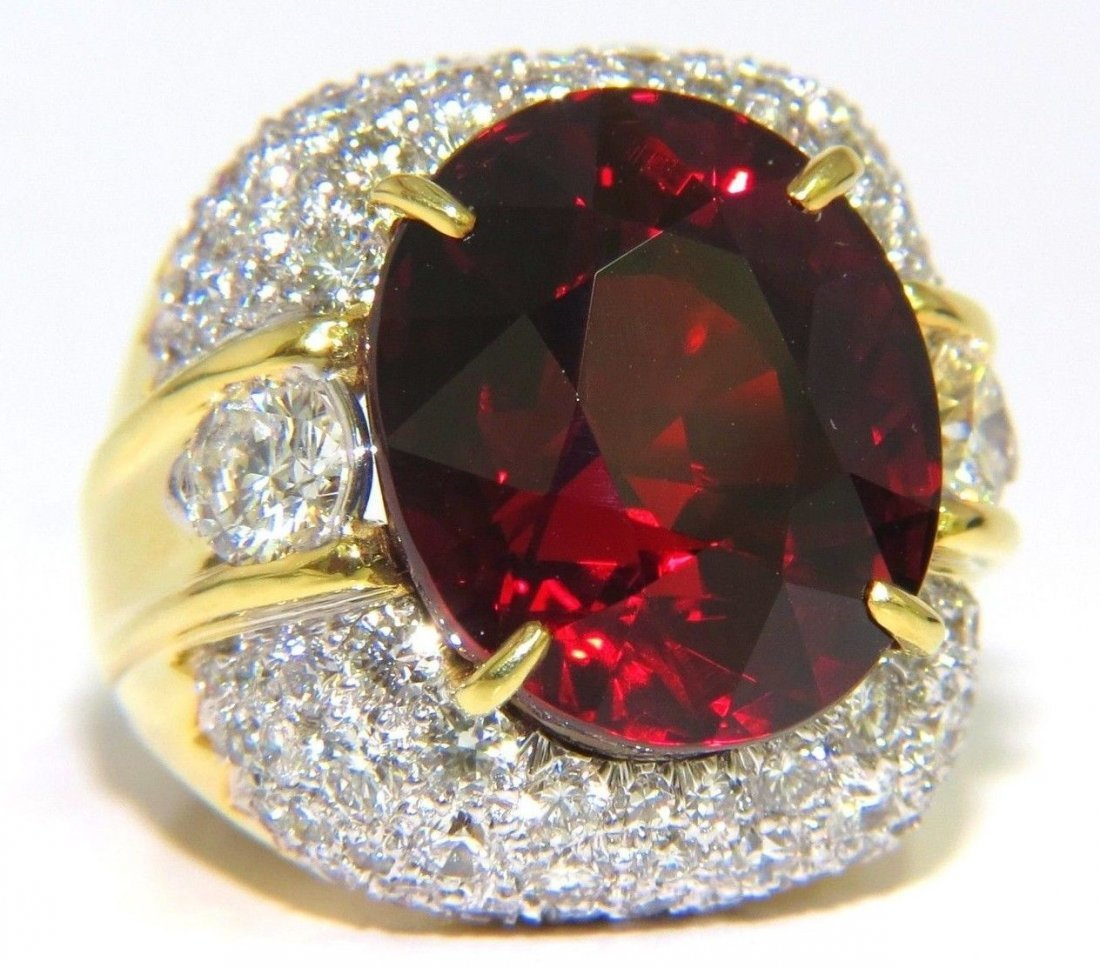 32.64ct GIA NATURAL RED SPESSARTITE GARNET DIAMONDS