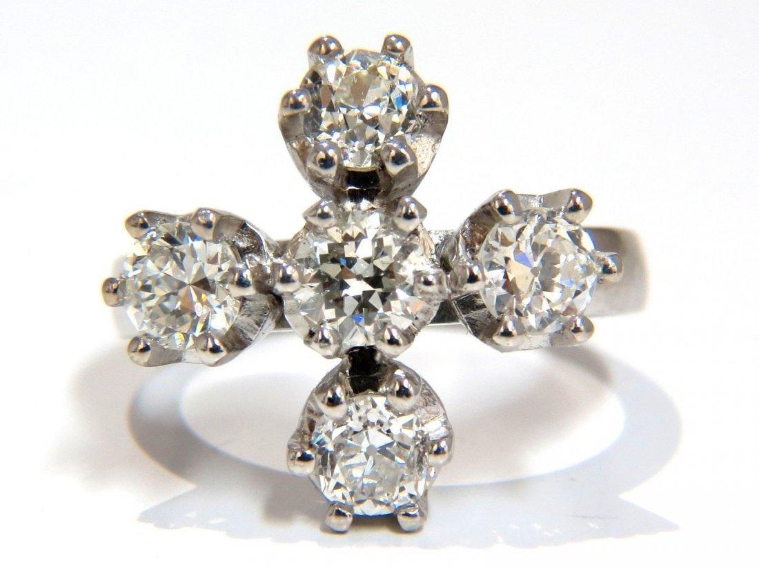 2.20CT NATURAL (5) DIAMONDS CROSS RING PLATINUM OLD