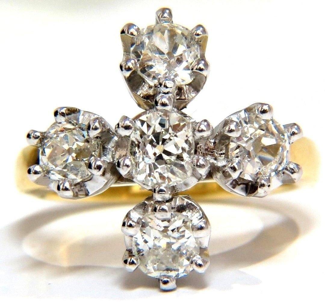 2.05CT NATURAL (5) DIAMONDS CROSS RING 18kt & Platinum