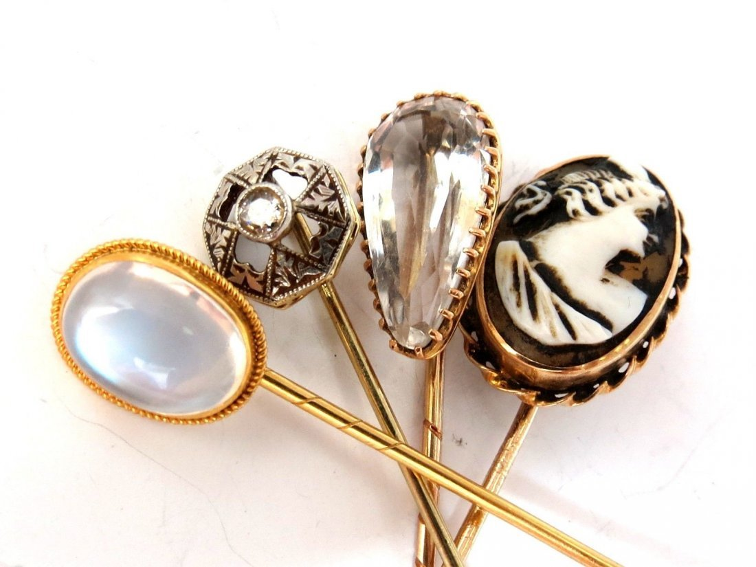 LOT OF (4) 14KT ANTIQUE HAT PINS COLLECTOR CLASSIC