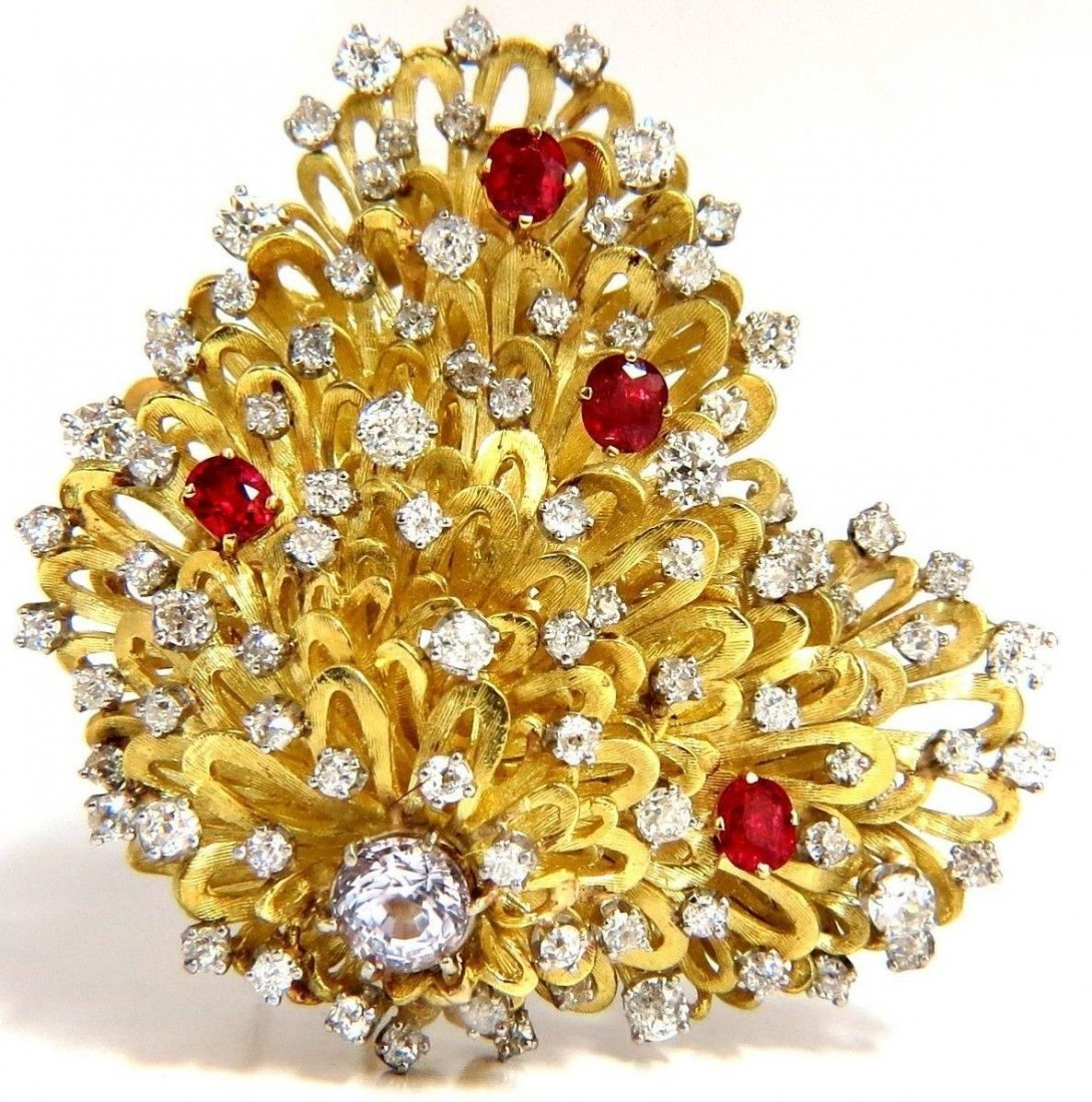 ERWIN PEARL 8.00ct. NATURAL DIAMONDS & RED SPINEL
