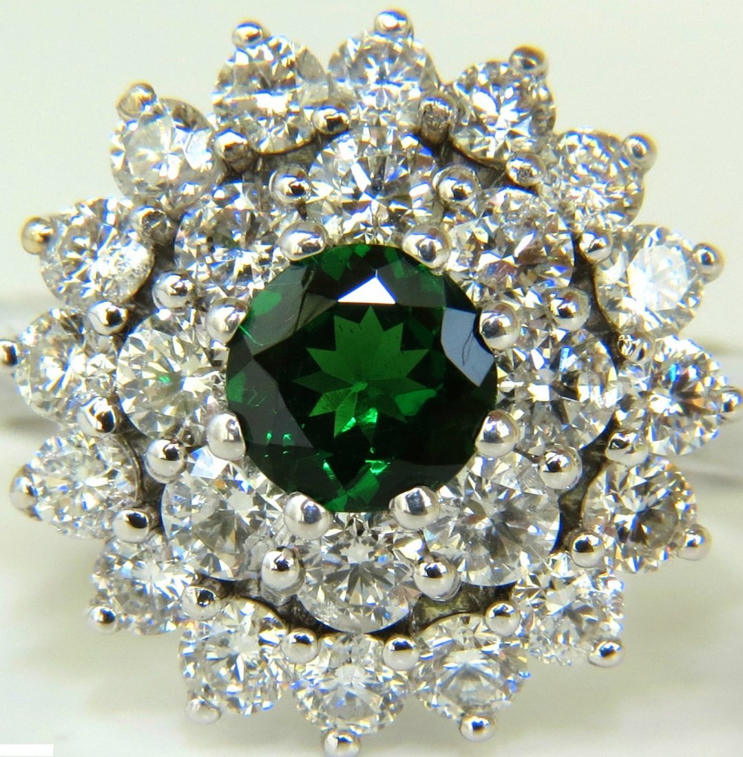 2.42CT NATURAL GEM TSAVORITE DIAMONDS CLUSTER RING 14KT