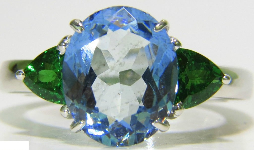 3.98CT NATURAL AQUAMARINE TSAVORITE RING MODERN 3 14KT