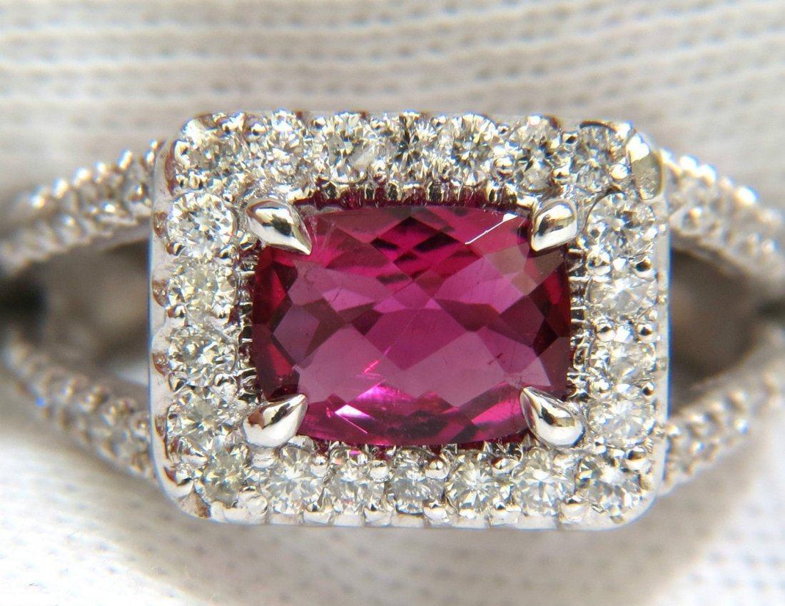2.73CT NATURAL BRIGHT PINK TOURMALINE DIAMOND RING