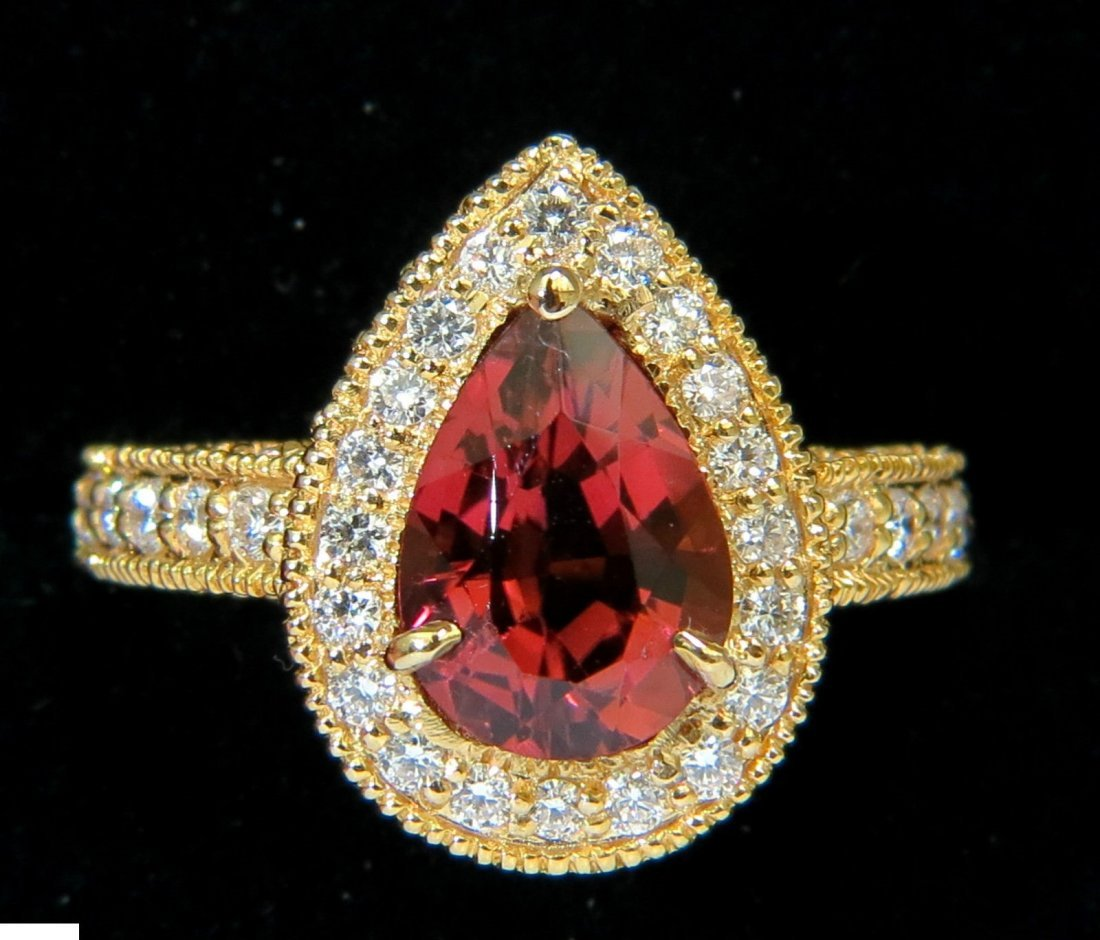 NATURAL 4.50CT PINK TOURMALINE DIAMOND RING HALO A+