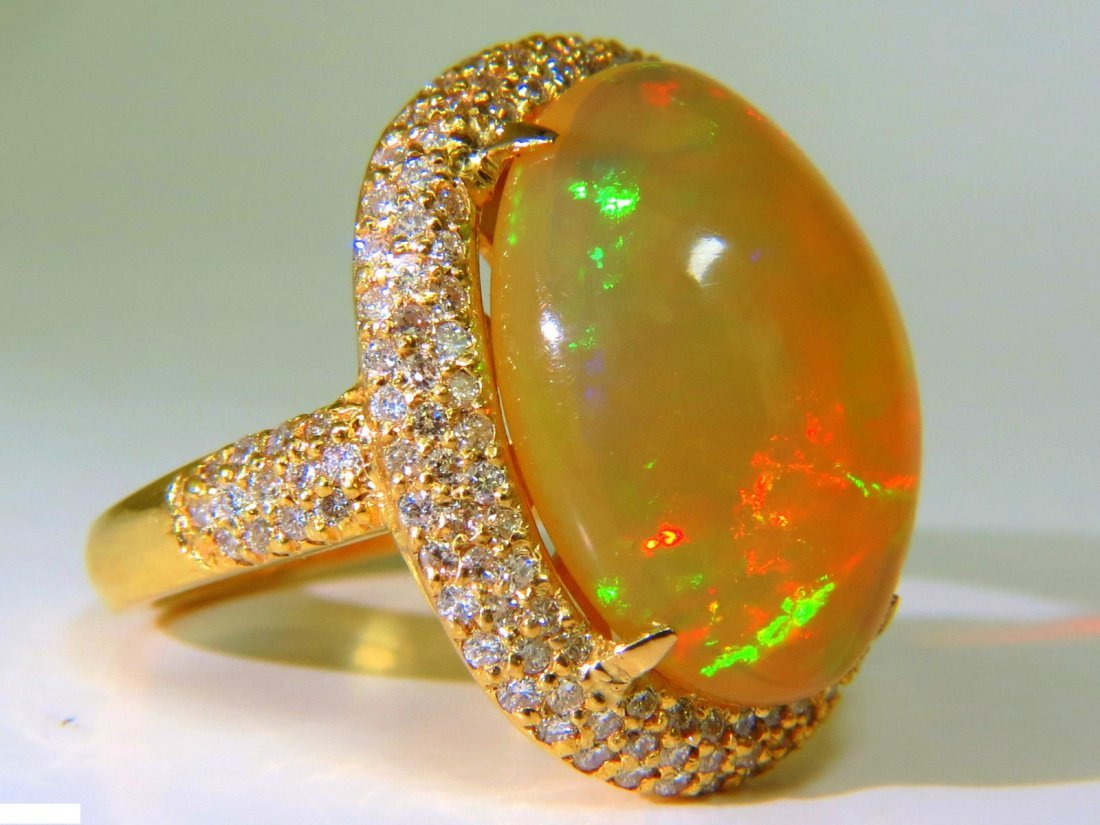 11.36CT NATURAL HOLOGRAPHIC OPAL DIAMOND RING 14KT RARE