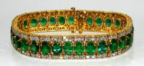 32CT NATURAL VIVID GREEN EMERALD DIAMOND BRACELET G/VS