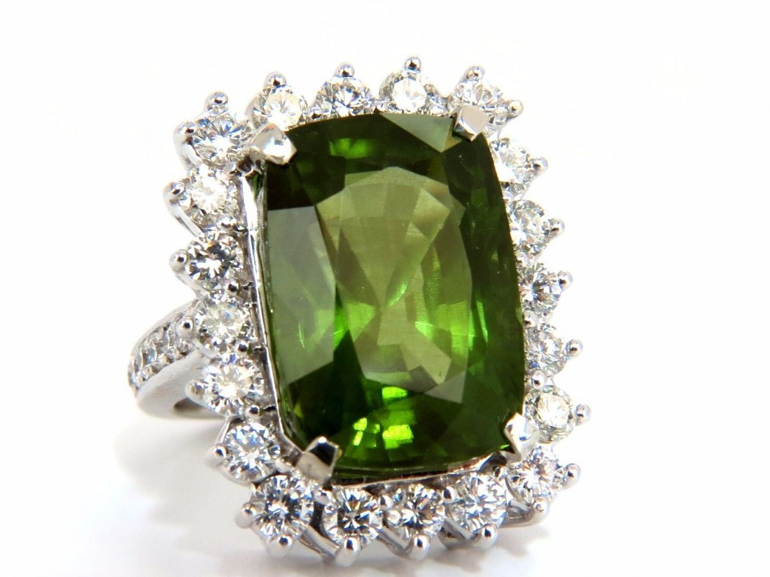 GIA Certified 18.58ct natural green peridot diamond