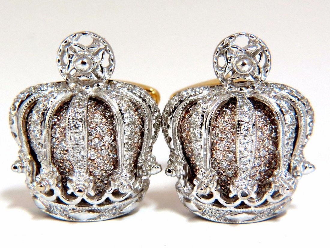 Posh Britt 3D Royal Crown 6.00ct. Diamonds Cufflinks