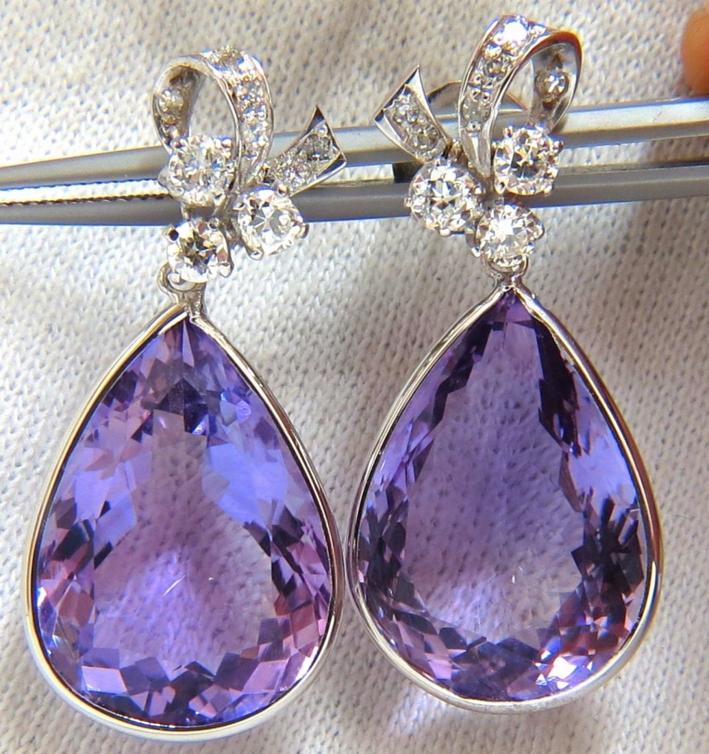 34.00CT NATURAL VIVID PURPLE AMETHYST DANGLE EARRINGS